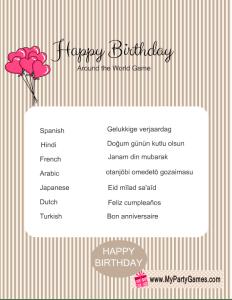Free Printable Happy Birthday Around the World Game