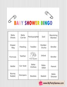 Baby Shower Bingo Game Cards in Grey Color