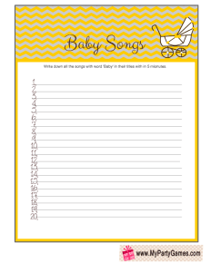 Free Printable Baby Songs Game Cards in Yellow Color