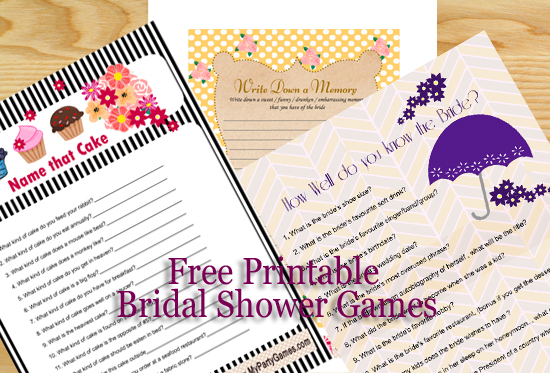 Free Printable Wedding Shower games, bridal shower, bachelorette party and Hens Party games.