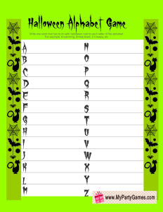 Free Printable Halloween Alphabet Game in Green Color