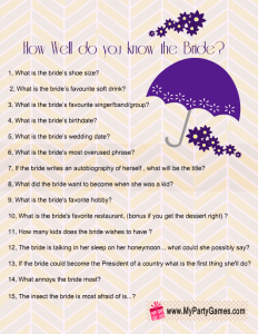 Free Printable How Well Do you Know the Bride Game in Purple