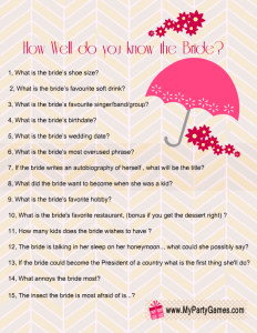 Free Printable How Well Do you Know the Bride Game in Pink