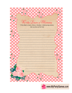 Memory with the Bride Game in Pink Shabby Chic Design