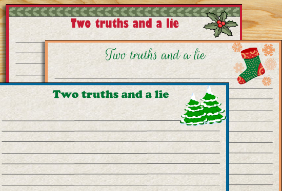 Two Truths and a Lie Game Christmas Version