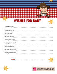 Free Printable Wishes for Baby Cards for Cowboy Baby Shower
