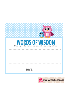 Words of Wisdom Cards for Owl Baby Shower in Blue Color