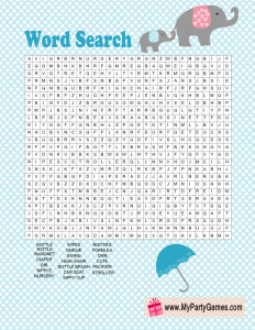 Baby Shower Word Search Game featuring Elephants in Blue Color