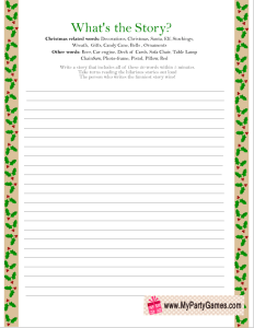What's the Story? Printable