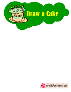 Draw a Cake- Free Printable Birthday Party Game in Green Color