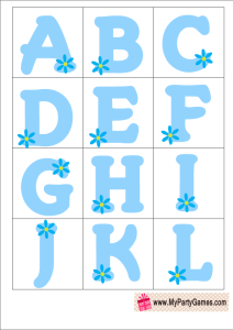Free Printable Baby Shower Alphabet Introduction Game in Blue Color