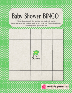 Free Printable Baby Shower Gift Bingo Card in Green Color