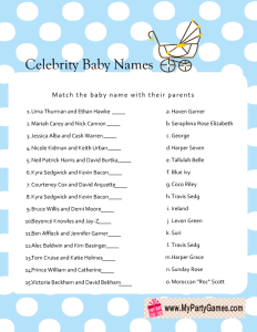 Free Printable Celebrity Baby Name Game in Blue Color