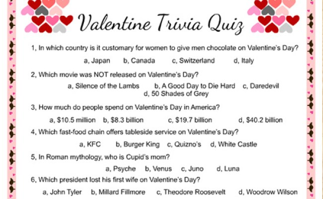 Free Printable Valentine Trivia Game With Answer Key
