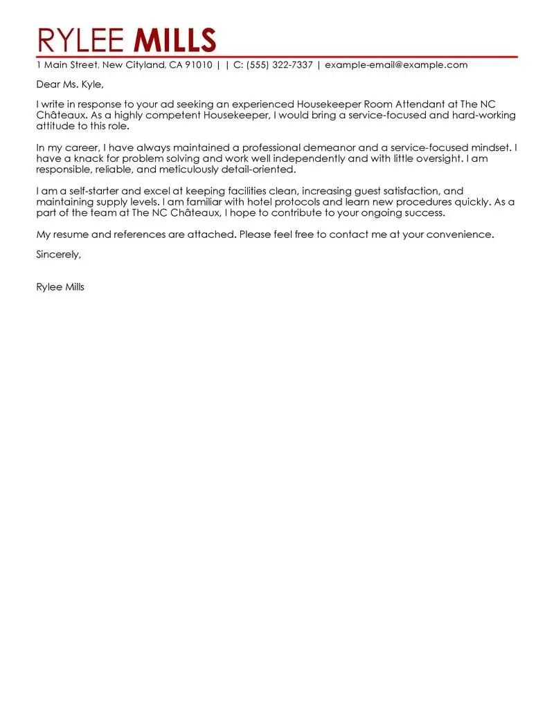 Hotel Attendant Cover Letter