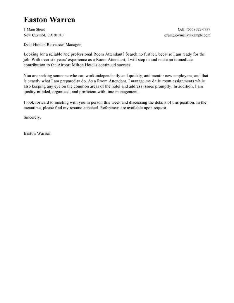 Cover Letter Hotel Attendant  Room Attendant Cover Letter