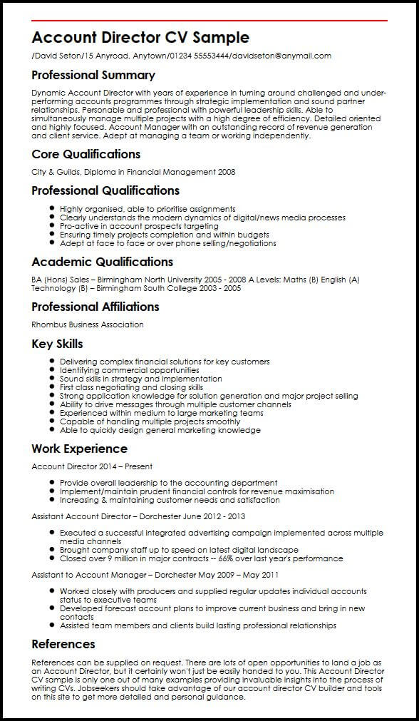 cv english manager personal assistant to the director