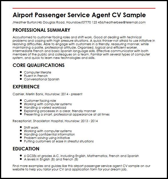Airport Passenger Service Agent CV Sample  MyperfectCV