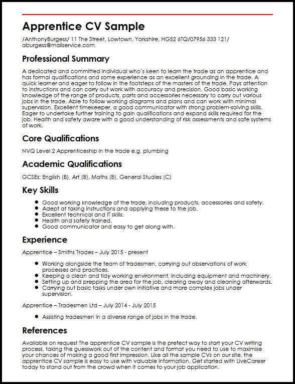 Apprentice CV Sample  MyperfectCV