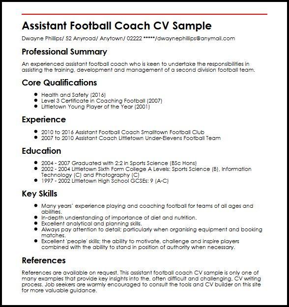 football coach resume pdf