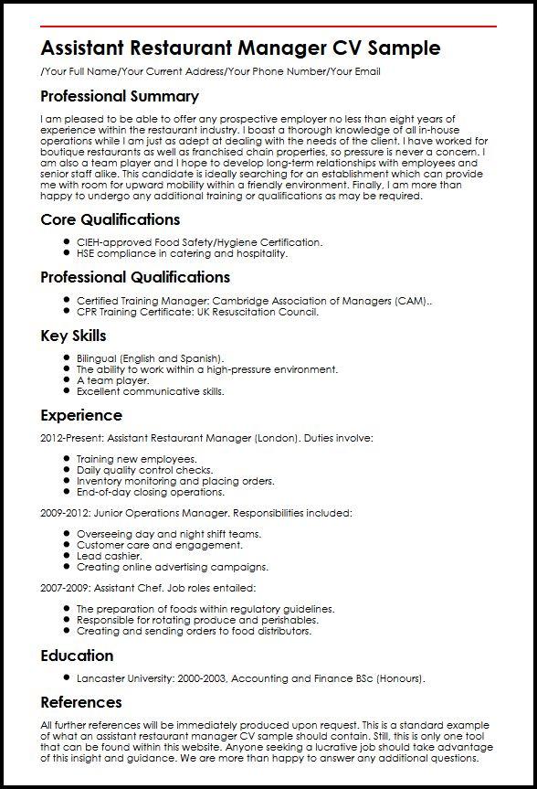 Assistant Restaurant Manager CV Sample  MyperfectCV