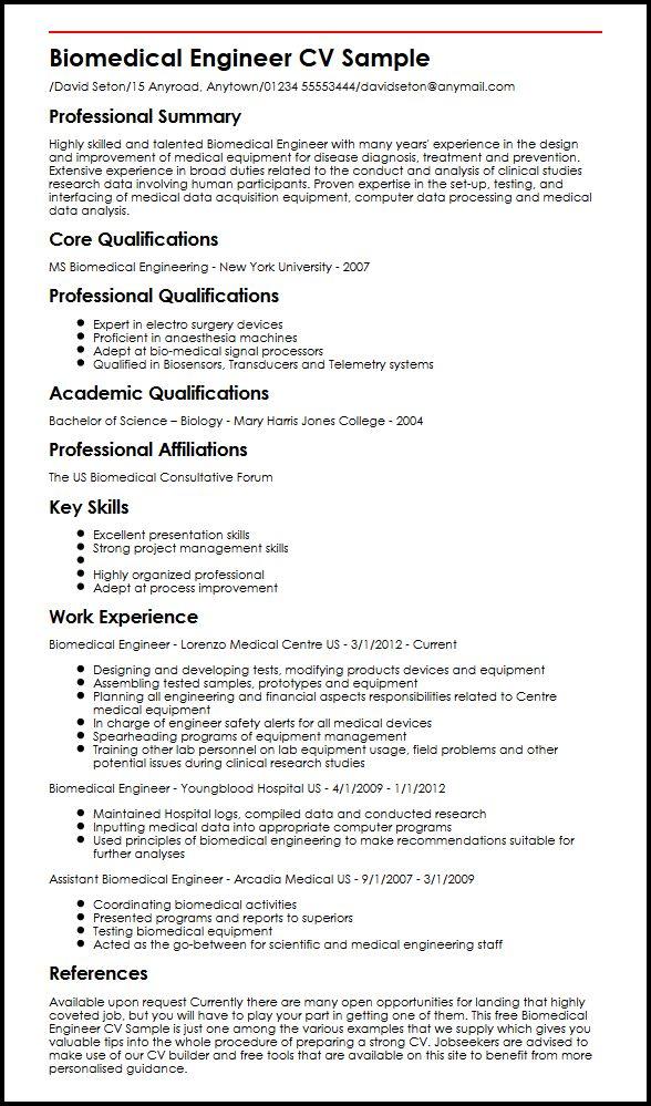 Biomedical Engineer CV Sample MyperfectCV