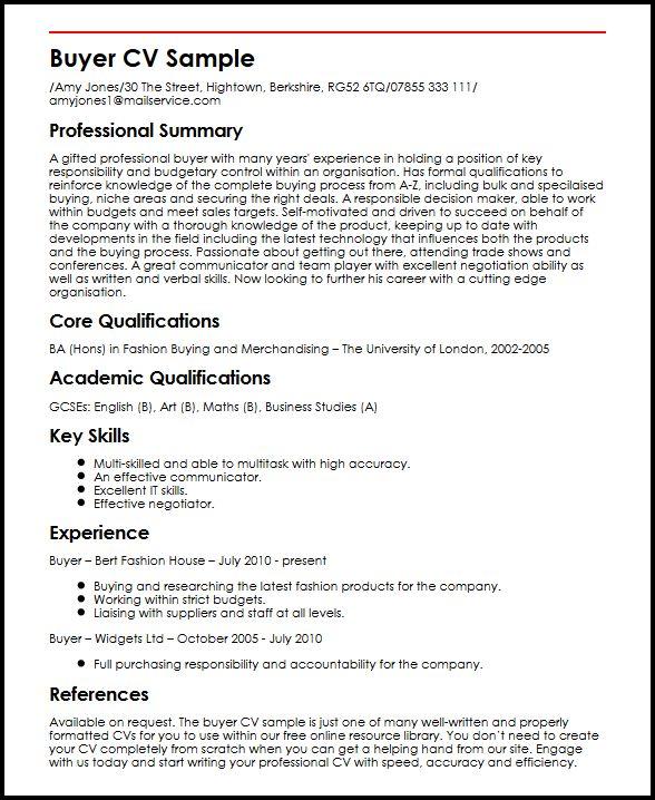Buyer CV Sample MyperfectCV