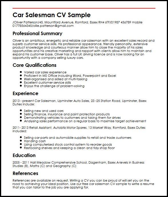Car Salesman CV Sample MyperfectCV