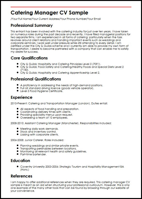 Catering Manager CV Sample MyperfectCV