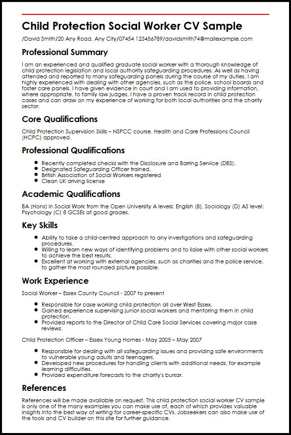 resume examples for child protection social workers