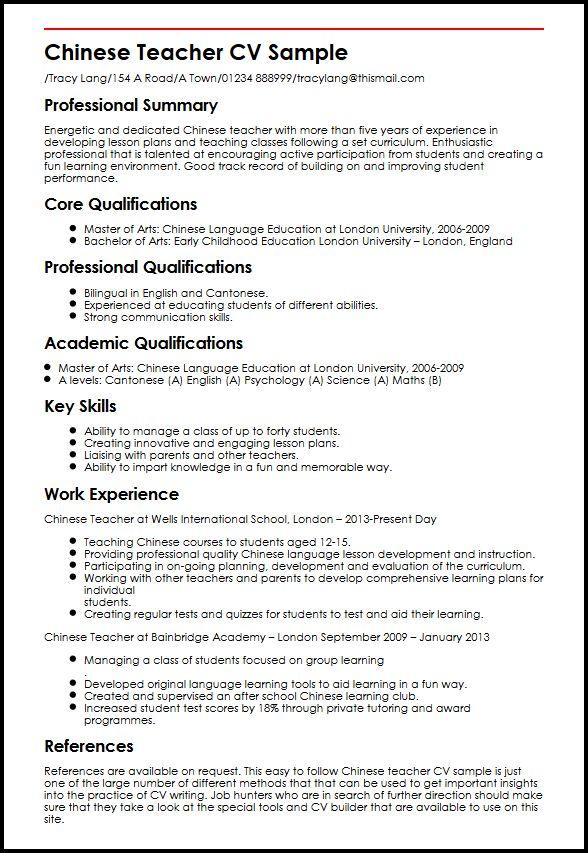 Chinese Teacher CV Sample MyperfectCV