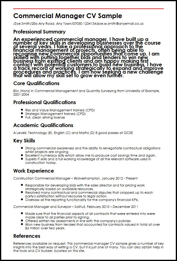 Commercial Manager CV Sample MyperfectCV