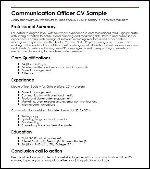 Communication Officer CV Sample MyperfectCV