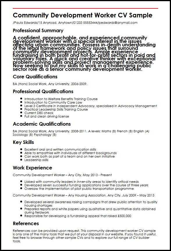 Community Development Worker CV Sample  MyperfectCV