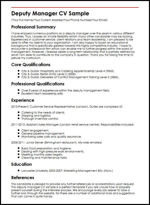 Deputy Manager CV Sample MyperfectCV