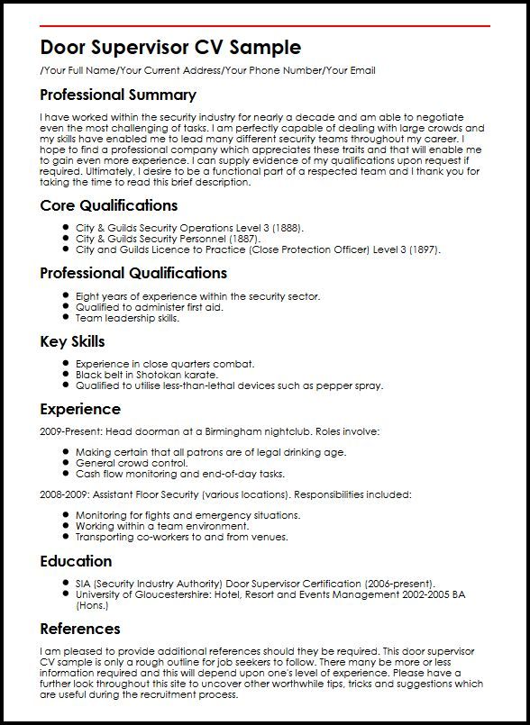 Door Supervisor CV Sample  MyperfectCV