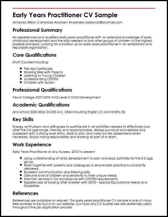 Early Years Practitioner CV Sample MyperfectCV