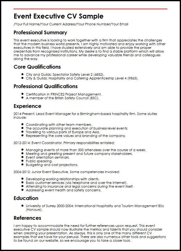 Event Executive CV Sample MyperfectCV