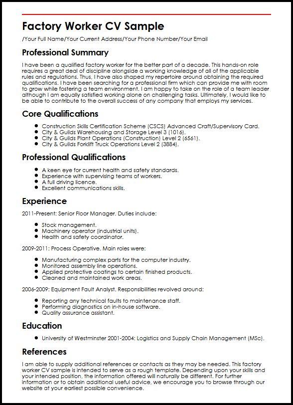 Factory Worker CV Sample Curriculum Vitae