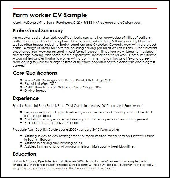 Farm Worker CV Sample MyperfectCV