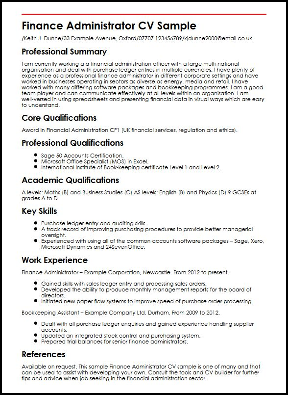 Finance Administrator CV Sample MyperfectCV