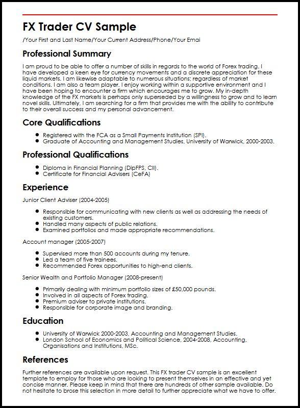FX Trader CV Sample MyperfectCV