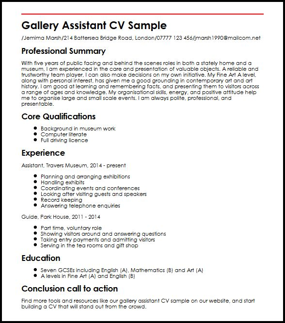 Gallery Assistant CV Sample MyperfectCV