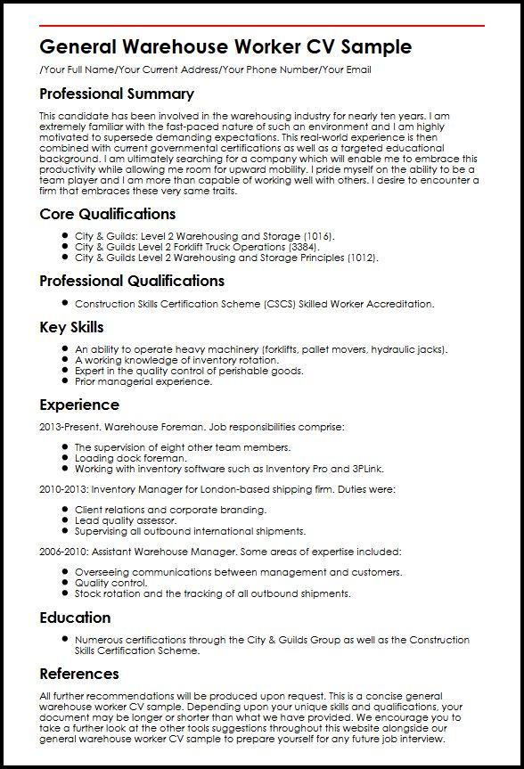 General Warehouse Worker CV Sample MyperfectCV