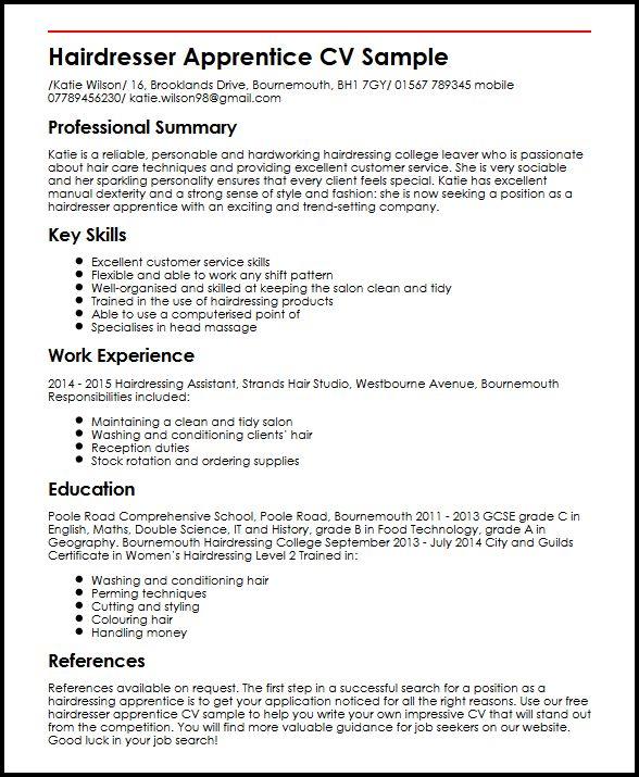Hairdresser Apprentice CV Sample MyperfectCV
