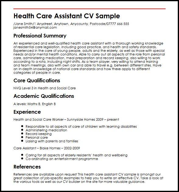 Health Care Assistant CV Sample  MyperfectCV