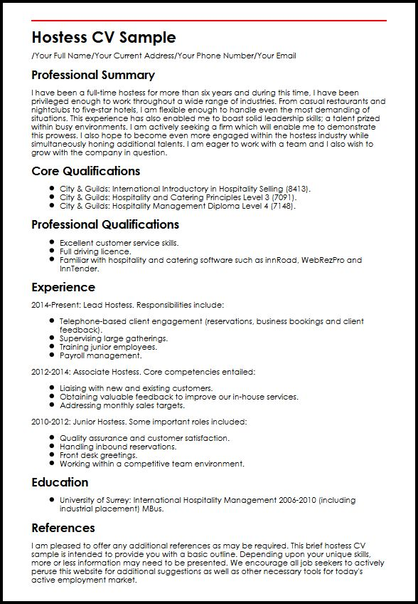Hostess CV Sample MyperfectCV
