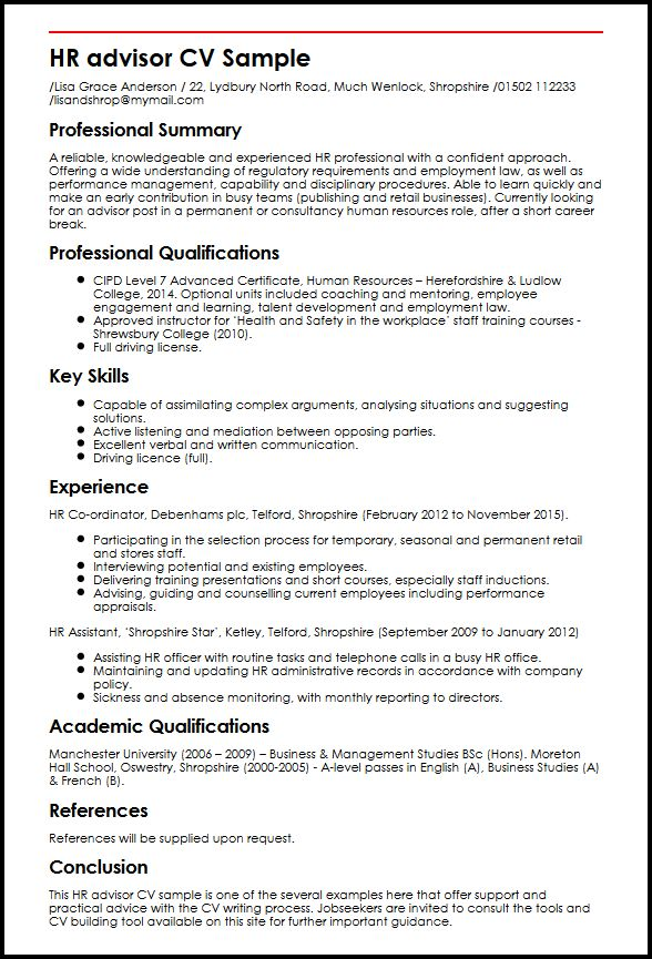 example cv english apply for human resources assistant