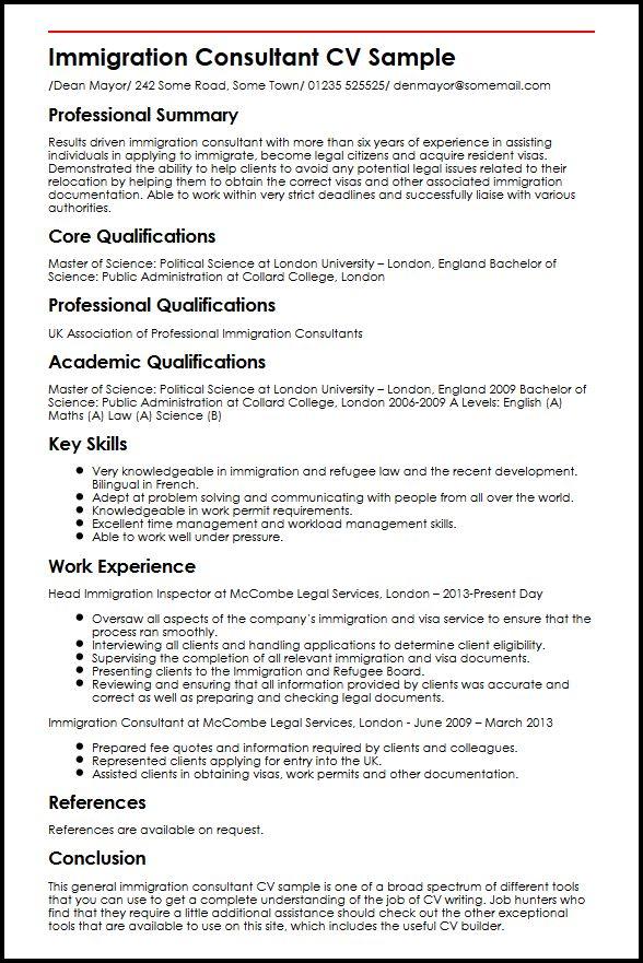 Immigration Consultant CV Sample MyperfectCV
