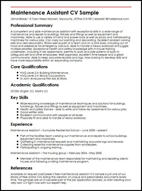 Maintenance Assistant CV Sample  MyperfectCV